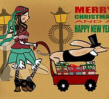 Steam Punk Sausage Dog Christmas Card by Diana-Lee Saville