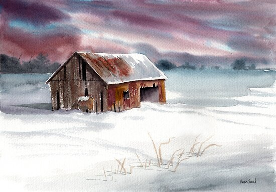 Rusty Roof Winter Barn by Sean Seal