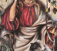 Jesus Print  Sale - The Good Shepherd by JeffeeArt4u