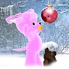 Holiday Card For Small Child With Pink Puppy by Moonlake