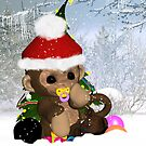 Baby's First Christmas Card Cute Monkey by Moonlake