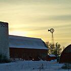 Winter Barn Windmill Sunset ~ SHAKOPEE,MN by Diane Trummer Sullivan