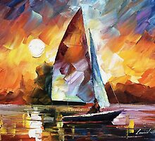 SUNSET  BY THE LAKE - Original Art Oil Painting By Leonid Afremov by Leonid  Afremov