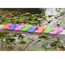 """""""On The Edge"""" - Flip Flops all lined up Photographic Print"""