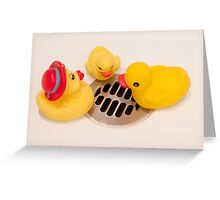 """""""Where Did All The Water Go?"""" - rubber ducks looking for water Greeting Card"""