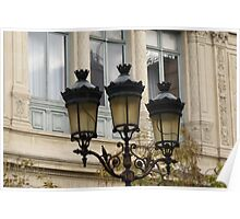 handsome street lamps on Ile de la Cite, Paris Poster