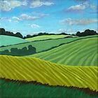 Summer Fields - landscape oil painting by LindaAppleArt