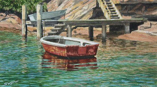 Moored in Gunnamatta Bay by Freda Surgenor