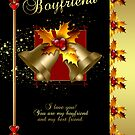 Boyfriend Christmas Card - Holly And Bells - Black And Gold Effect  by Moonlake