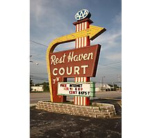 Route 66 - Rest Haven Motel Photographic Print