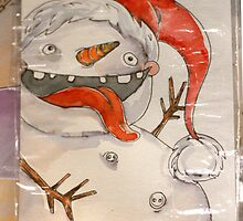 Christmas Greeting Card - Crazy snowman by mimiriq