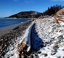 Frozen Pebble Beach on Lake Superior - Marthon Ontario Canada by loralea