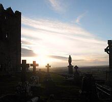 Sunset at Rock of Cashel by lindart48