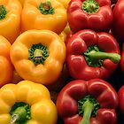 Red and yellow peppers by Celeste Cota