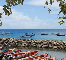 Fishermen Boats & Sea Wall - Martinique, F.W.I. by Olivia Son