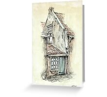 OLD DUTCH PICTURE - AQUAREL AND CONTE Greeting Card