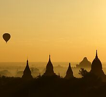 Balloon over Bagan by Thaw Zin