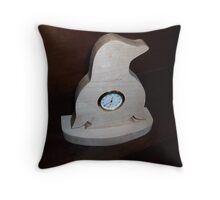Penguin wooden mini desk clock Throw Pillow