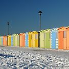 Beach Huts in the Snow by mikebov
