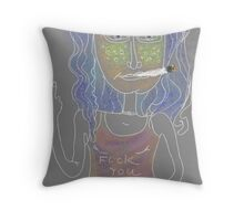 Portrait of a bad girl Throw Pillow