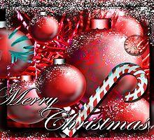 """Candy Cane & Ornaments"" Christmas Card by Steve Farr"