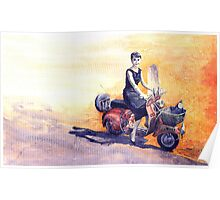 Audrey Hepburn and Vespa in Roma Holidey  Poster