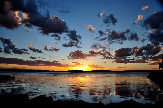 Pelican Sunset on Lake Macquarie NSW Australia by Bev Woodman