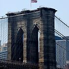 Brooklyn Bridge  with a flag by Joe Bashour