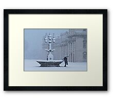 Fountain in Snow Framed Print