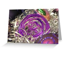 Study on purple Christmas baubles 2 Greeting Card