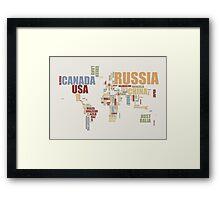 World Map in Words 2 Framed Print
