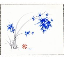 """Soft Blue Flowers"" Chinese Painting by Rebecca Rees Photographic Print"