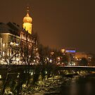 City skyline of Graz in Winter at the River Mur by christopher363