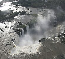 Aerial view of Iguazu Falls, Brazil by Deb22