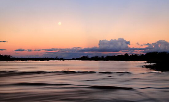 Moon Rise Over the Greenough River  by Pene Stevens