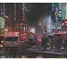 New York Night Lights in Snow Photographic Print