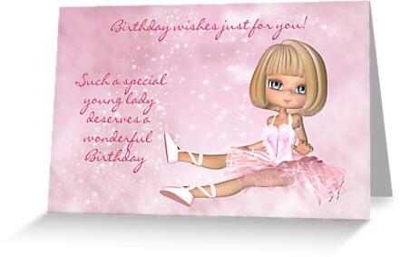 Ballet Birthday Card - Cute Ballerina Birthday Card by Moonlake