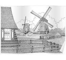 MILLS FROM 1633 IN THE SCHERMERPOLDER - PEN DRAWING Poster