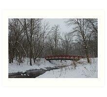 Little Red Foot Bridge Art Print