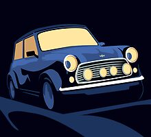 Mini Cooper in Blue by ArtPrints