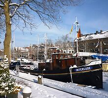 Snow covered Oude Haven, Vlaardingen by Stephanie Owen
