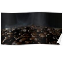 Hot beans, Close up of espresso beans Poster