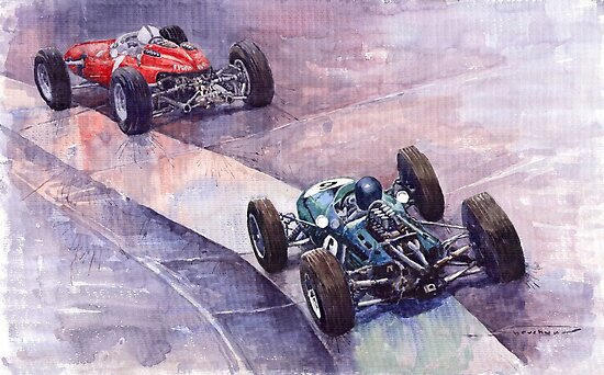 Ferrari 158 vs Brabham Climax German GP 1964 by Yuriy Shevchuk