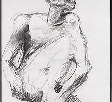 Drawing 2 about Nijinsky of Rodin by Pascale Baud