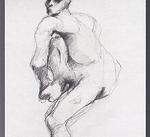 drawing 6 about Nijinsky of Rodin by Pascale Baud