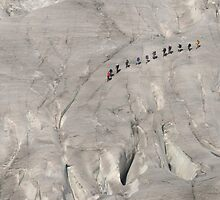 Hikers on a glacier, Switzerland by Catherine Ames