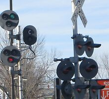 Pairs of Train Signal Lights at Stoughton Center Crossing by Eric Sanford