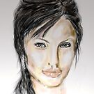 Portrait Angelina Jolie by Trish Loader