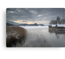 Winter Boathouses Metal Print