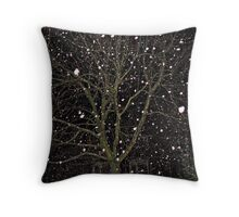 Falling Snow - Night Scene Throw Pillow